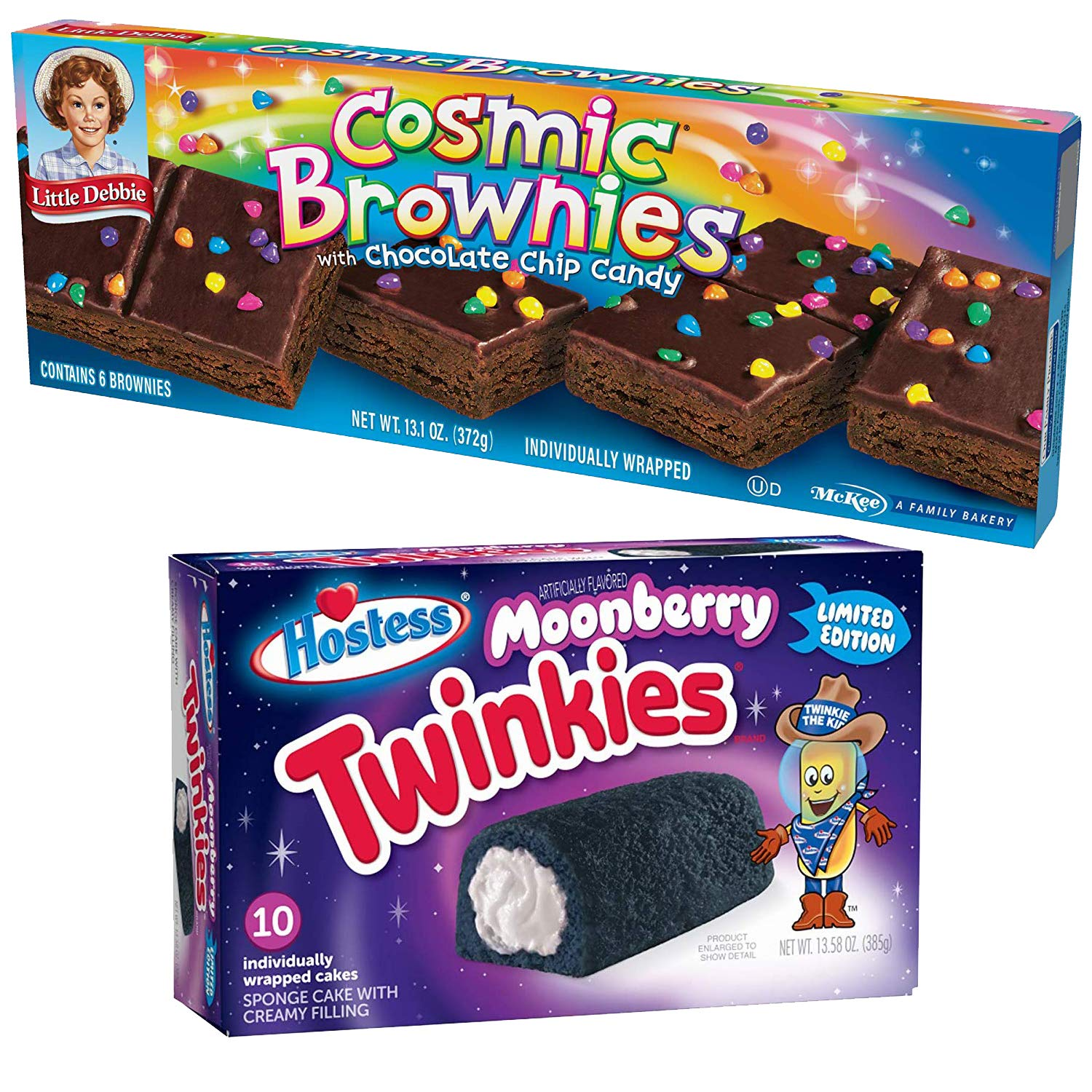 Space Flavors Limited Edition Snack Cakes Hostess Twinkies Moonberry & Little Debbie Cosmic Brownies with Chocolate Chip Candy by Hostess