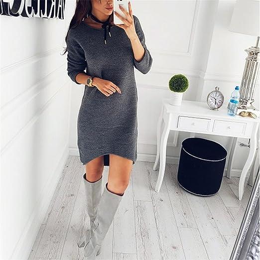 Longra ❤ Moda Mujer Jersey Invierno Suéter Largo Mangas Gris Largas Vestido Corto Elegante, Pullover Ropa: Amazon.es: Ropa y accesorios