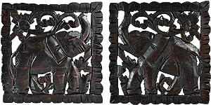 AeraVida Opposing Elephant Panel Set Hand Carved Teak Wood Relief Panel Wall Art