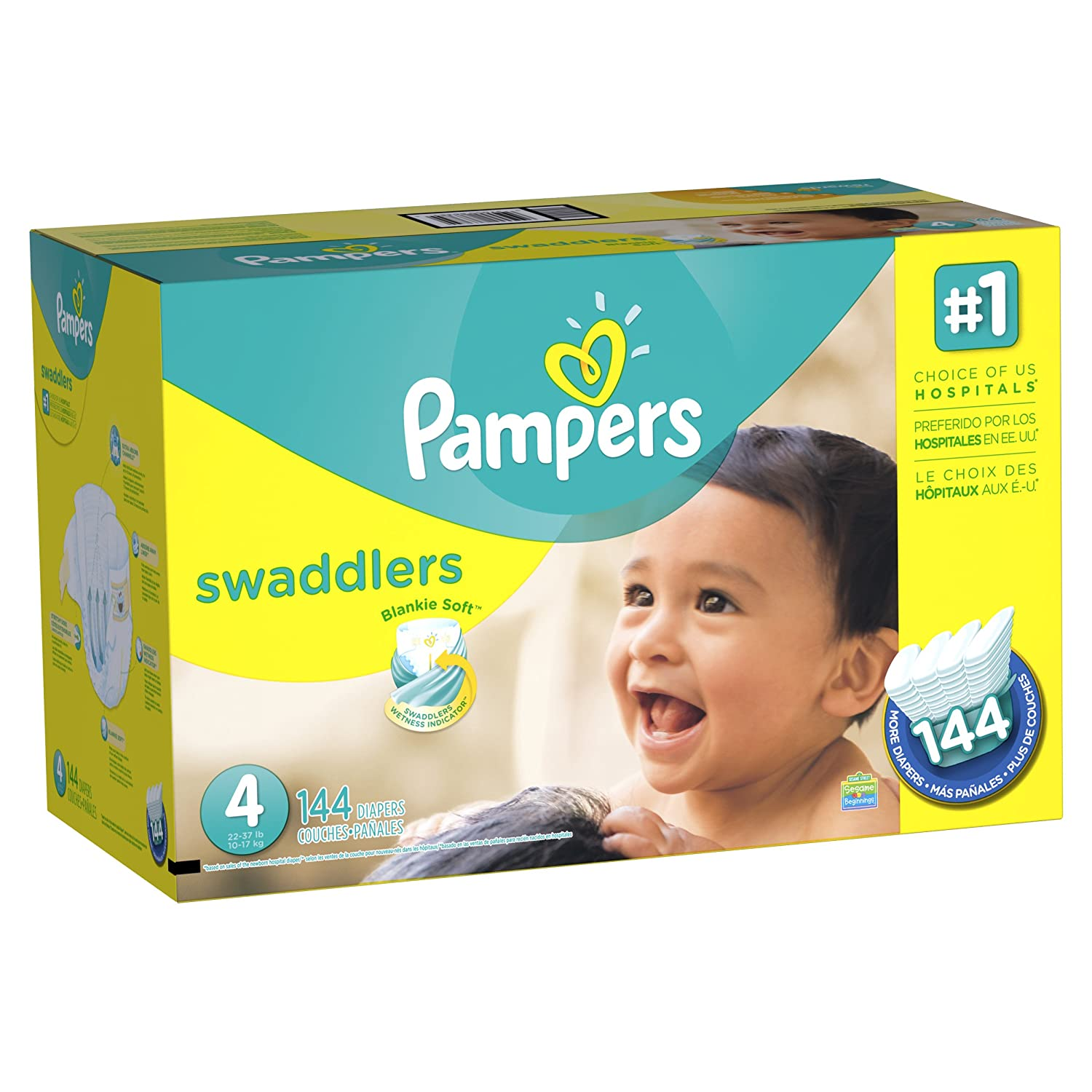Amazon.com: Pampers Swaddlers Diapers Size 4 (22–37 lb), 144 Count ...