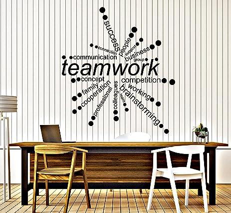teamwork office wallpaper. Large Vinyl Wall Decal Teamwork Words Office Decor Business Stickers (ig4342) Flame Red Wallpaper W