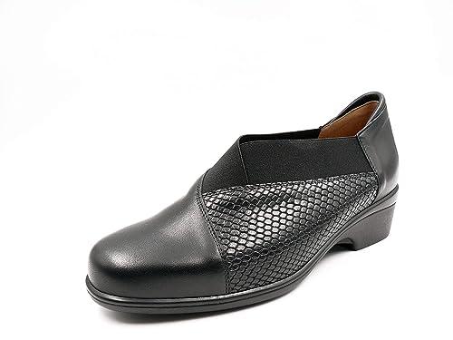 Zapato Mujer Abotinado Ancho Especial de la Marca PIESANTO en Piel Color Negro Comb. Serpiente y elástico, cuña 3 cm, Plantilla Extraible, 185608-150: ...