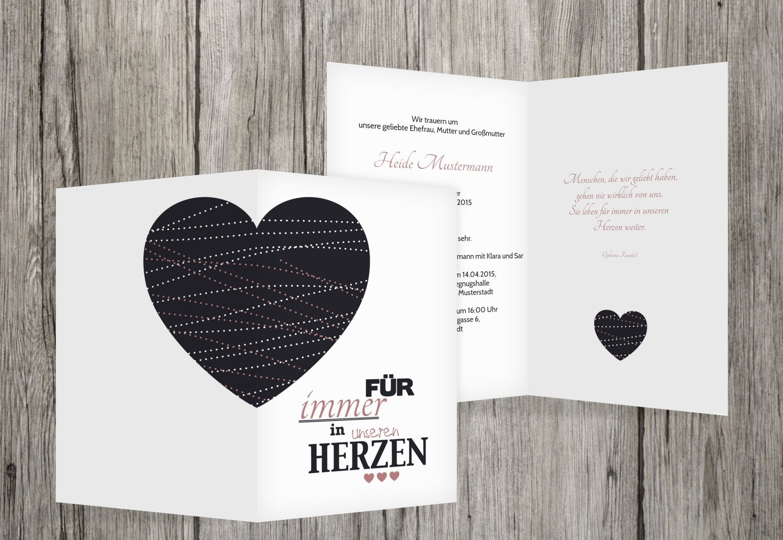 Tarjeta de luto Corazón, rojo claro, 30 Karten