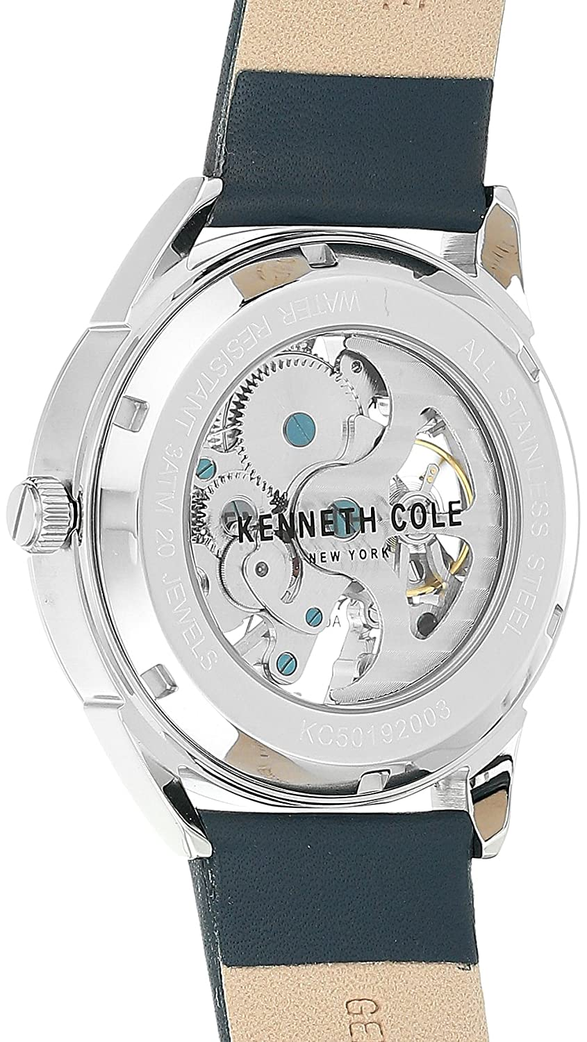 Amazon.com: Kenneth Cole New York Male Stainless Steel Automatic-self-Wind Watch with Blue Strap, Leather, 22 (Model: KC50192003: Watches