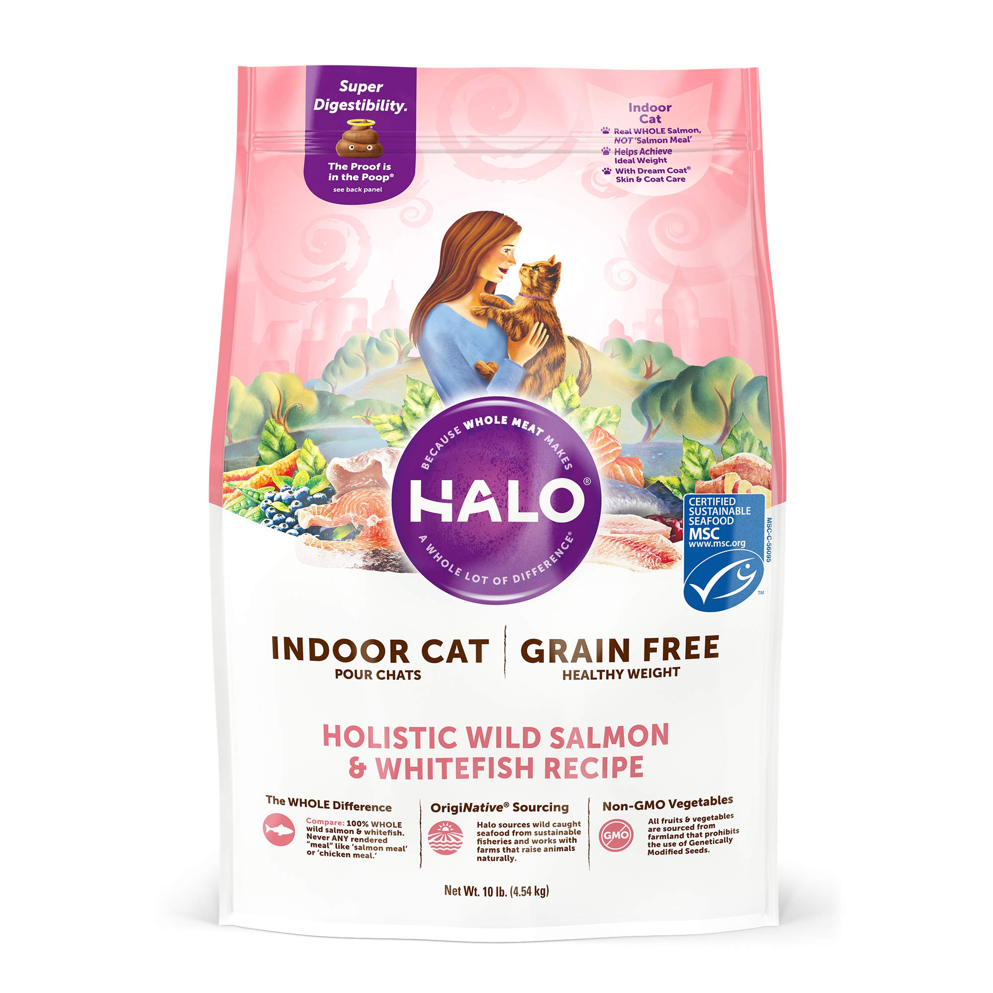 Halo, Purely for Pets 35201 Grain Free Natural Dry Cat Food, Indoor Healthy Weight Wild Salmon & Whitefish Recipe, 10 lb Bag, Brown by Halo