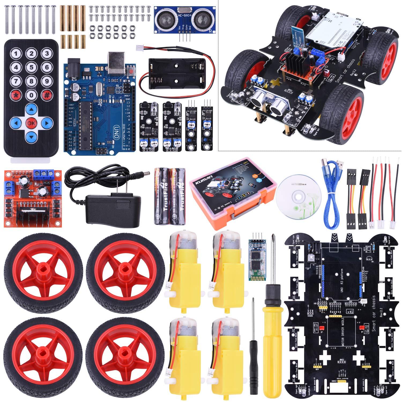 Kuman Uno R3 RC Smart Robot Car Kit, Robotics Kit with Line Tracking Module, Ultrasonic Sensor, Servo Motor, LED, Buzzer Horn, Tutorials for Arduino project Beginner