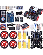 Upgraded RC Smart Robot Car Kit,Kuman for UNO R3 Robotics kit Building Sets with Line Module,Ultrasonic Sensor,Servo Motor,LED,Buzzer Horn,Tutorials for Arduino Project Beginner,Kid (Robot Car Kit)