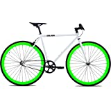 Golden Cycles Single Speed Fixed Gear Bike with Front & Rear Brakes (Shamrock 55), White/Neon Green