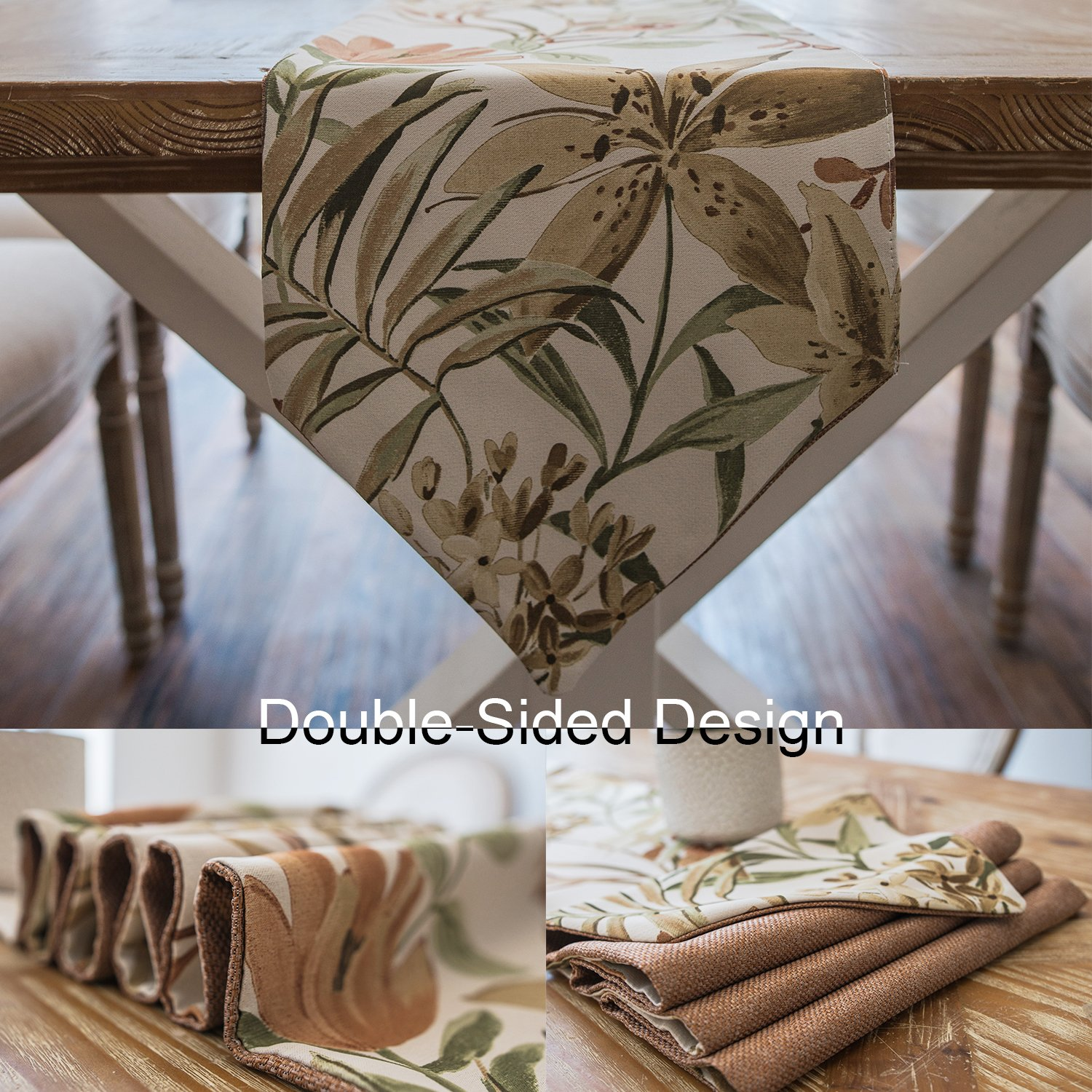 Foulola Folding Table Runner Rug,Burlap Linen,12X104inch, Double Sided Design (Pure Brown and Chinese Painting Style),For Dining, Party, Wedding, Coffee, Home Decoration