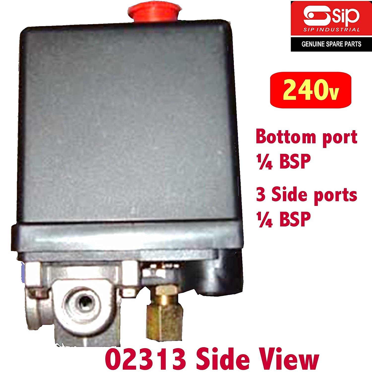 Genuine SIP 02313 air Compressor Pressure Switch Control Valve 240v with 4 x 1//4BSP Ports **Beware of Cheap Copies****!