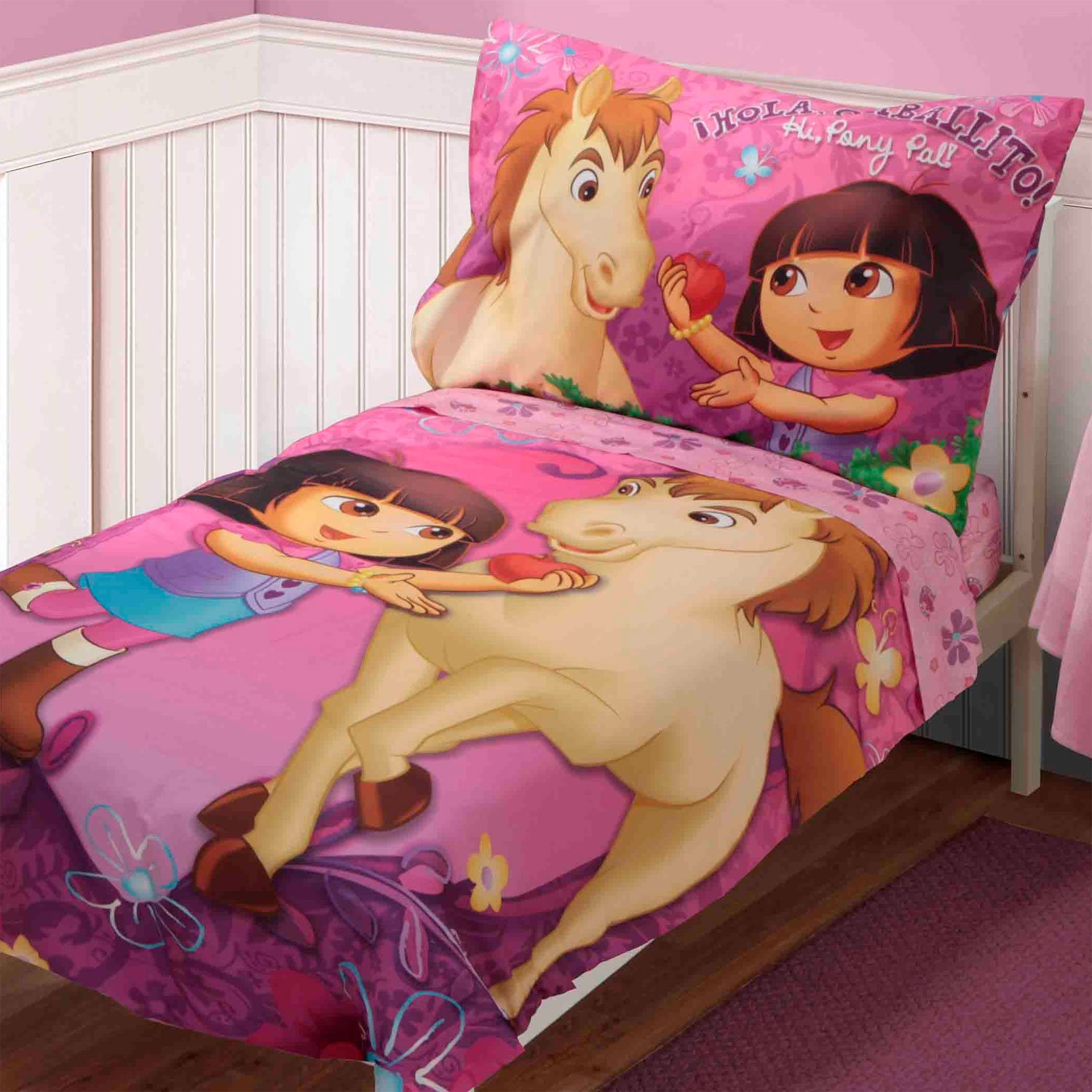 Dora Explorer Pony Pal 4 Piece Toddler Bedding Set