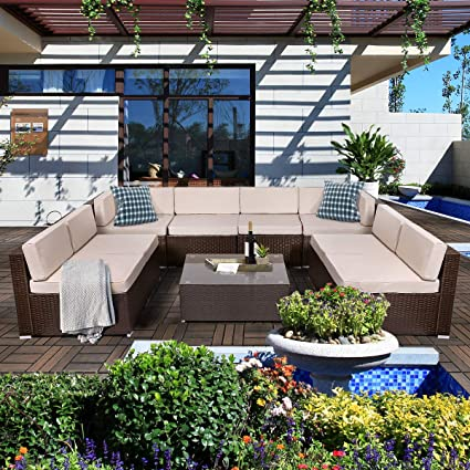 U-MAX 9 Pieces Patio PE Rattan Wicker Sofa Set Outdoor Sectional Furniture Conversation Chairs Set with Cushions and Tea Table Brown