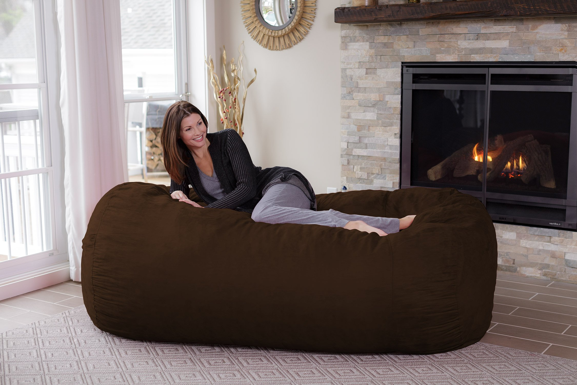 Chill Sack Memory Foam Bean Bag Lounger, 7.5-Feet, Chocolate by Chill Sack (Image #3)