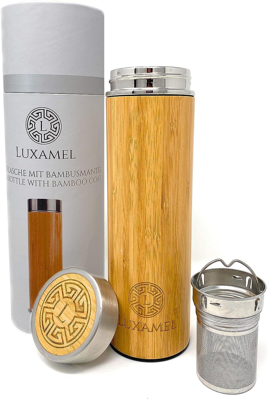 con colador de t/é Botella de cristal para t/é doble pared con colador tetera y tetera LUXAMEL fabricada en cart/ón de regalo sin BPA bamb/ú