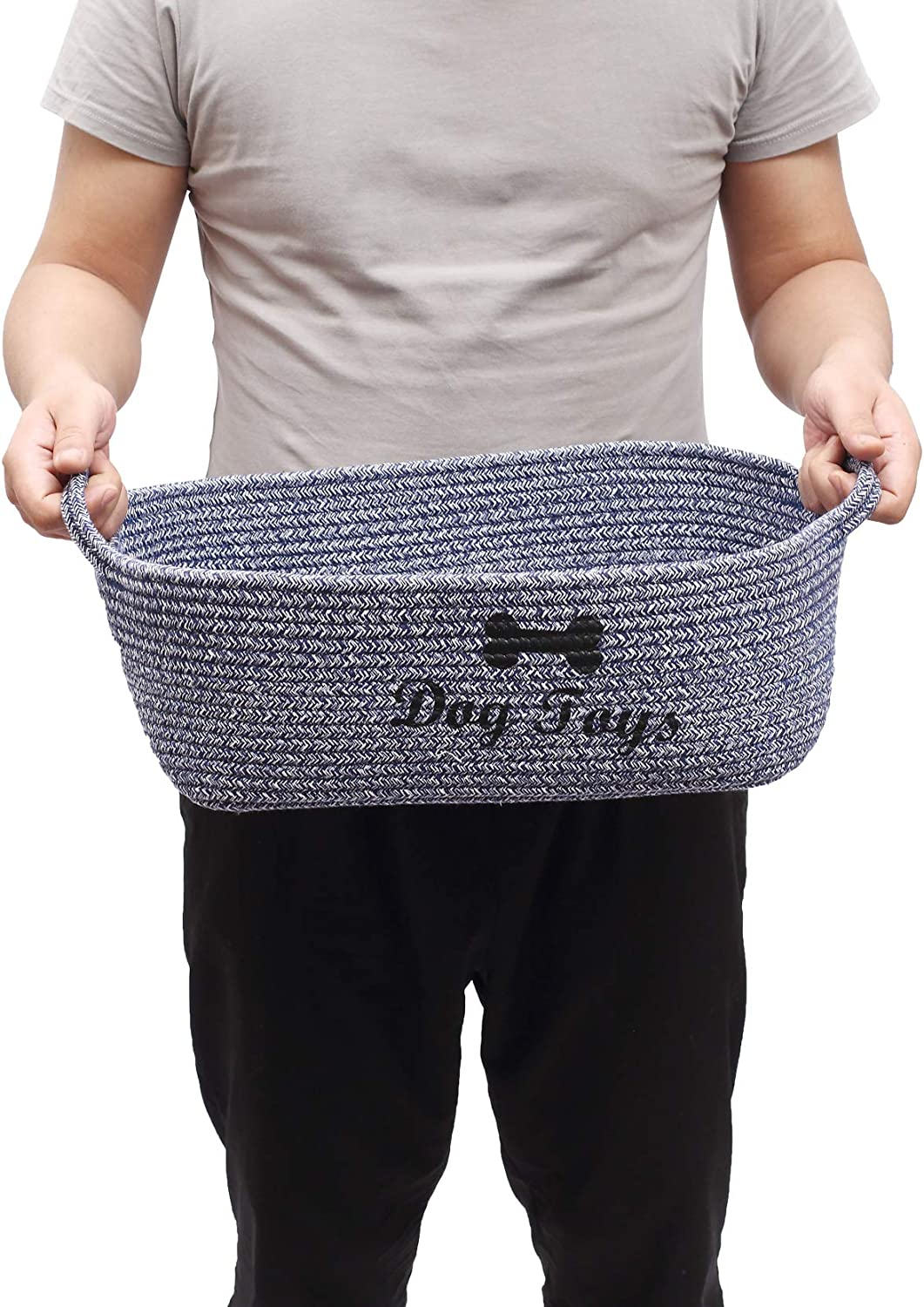 Blankets Pee mats pet Toy Boxes- Perfect for organizing pet Toys pet Bed Coats Diaper Brabtod Cotton Rope Dog Toy Basket with Handle pet Toy Storage Basket