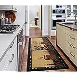 """Ottomanson Siesta Collection Kitchen Chef Design (Machine-Washable/Non-Slip) Runner Rug, 20"""" x 59"""", Beige"""