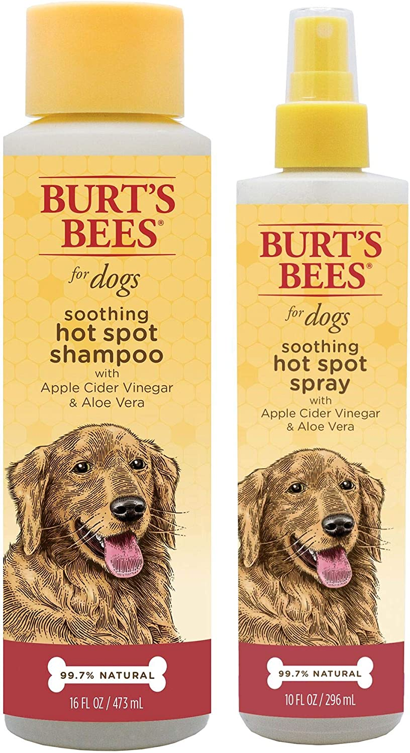 Combo Pack: Burt's Bees for Dogs Soothing Hot Spot Shampoo and Spray with Apple Cider Vinegar | Cruelty Free, Sulfate & Paraben Free, pH Balanced for Dogs - Made in The USA