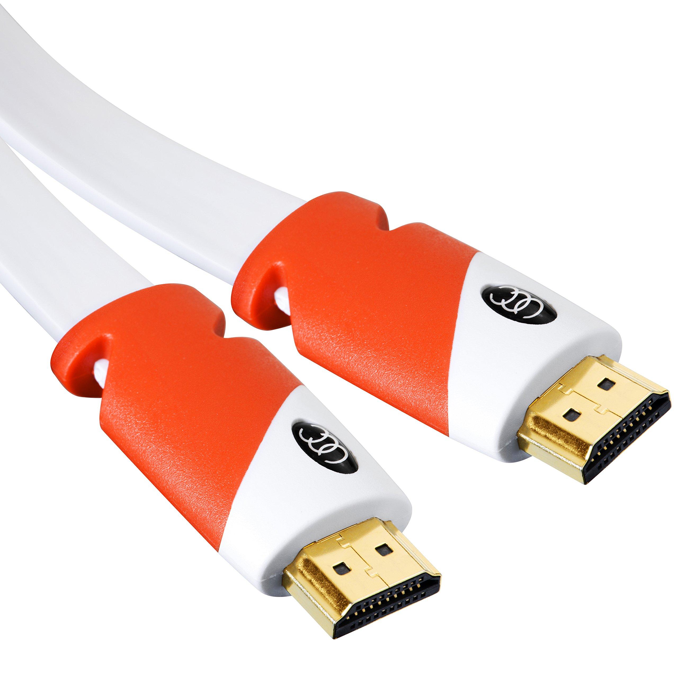 Cable HDMI plano de 40 pies - Cable HDMI de alta velocidad - Admite, video 4K a 60 Hz, 3D, 2160p - Estándar más reciente