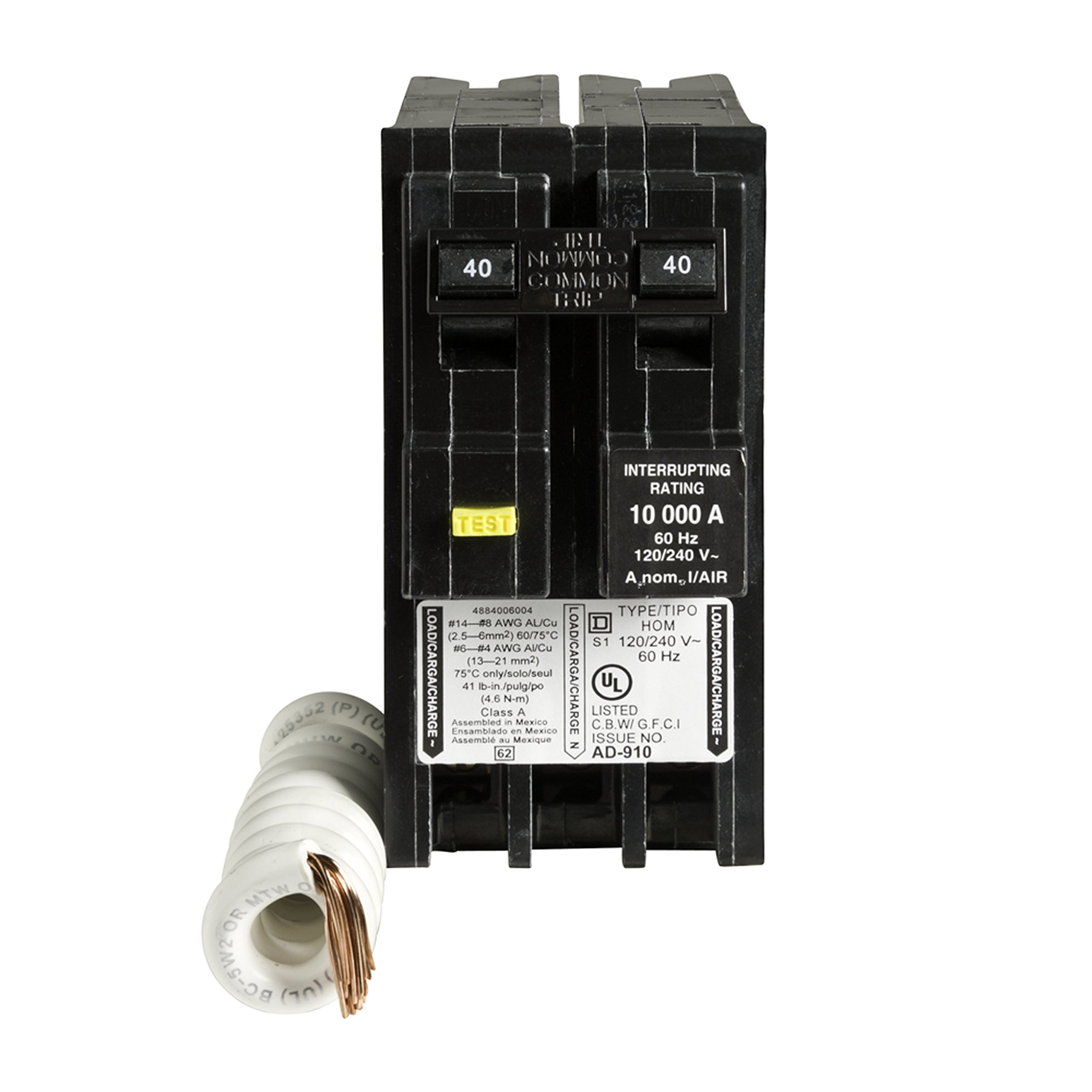 Square D by Schneider Electric HOM240GFIC Homeline 40 Amp Two-Pole GFCI Circuit Breaker, ,