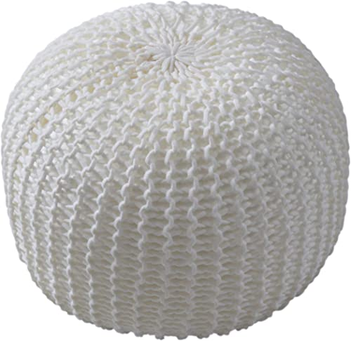Cheer Collection 18 Round Pouf Ottoman – Chunky Hand-Knit Decorative and Comfortable Foot Rest, Ivory