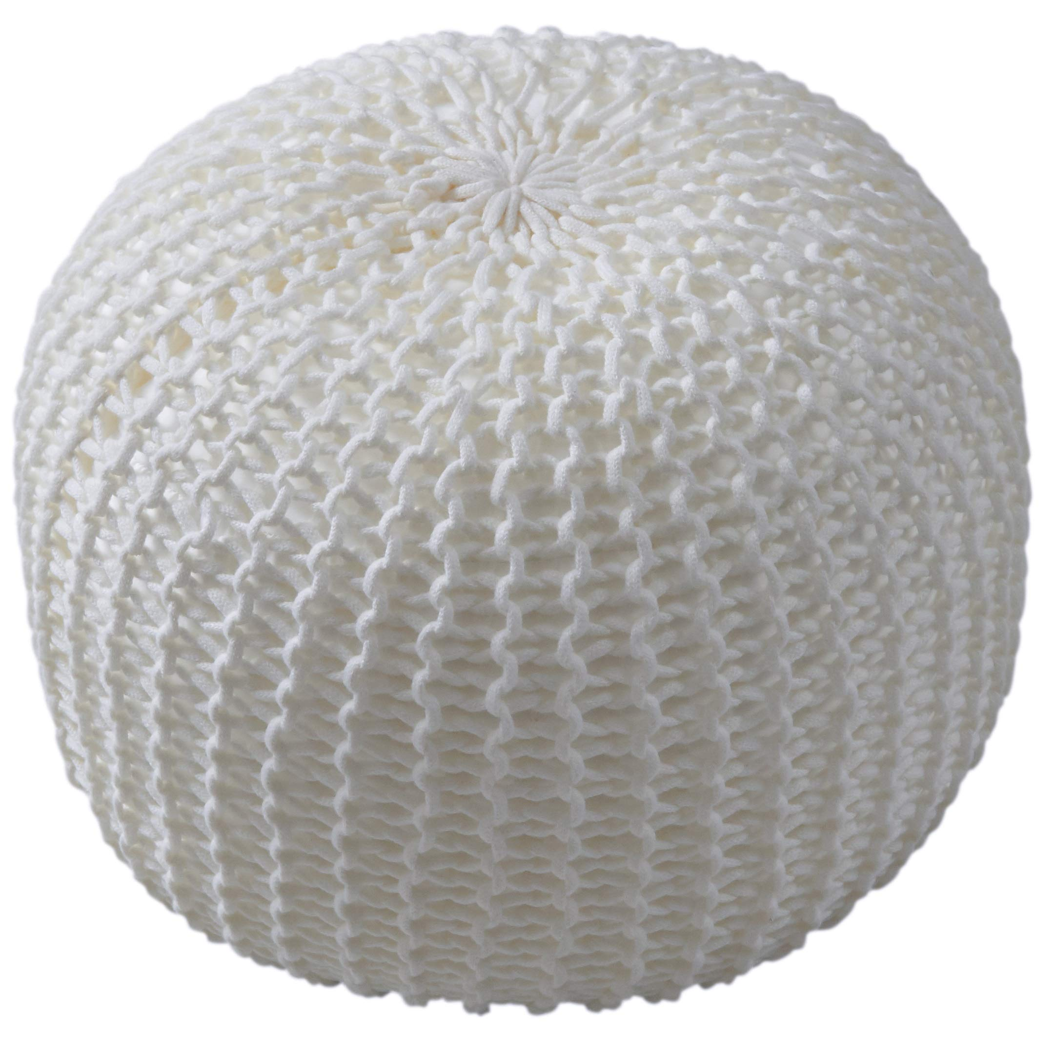 Cheer Collection 18'' Round Pouf Ottoman - Chunky Hand-Knit Decorative and Comfortable Foot Rest, Ivory by Cheer Collection