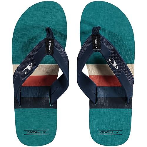 143abb45fb8 O Neill Mens Imprint Pattern Flip Flops (11 US) (Blue Yellow Orange ...