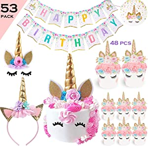 Bestus Unicorn Cake Topper (Eyelahes,Ears and flowers set) Headband, Unicorn Cupcake Toppers, Balloon and Happy Birthday Banner/Party Decoration Supplies for kids parties, first birthday,baby shower