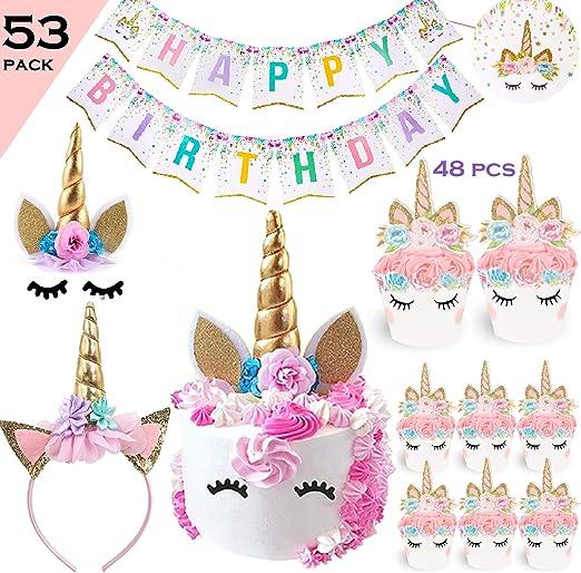 Amazon.com: Bestus Unicornio Juego de fiesta de cumpleaños ...