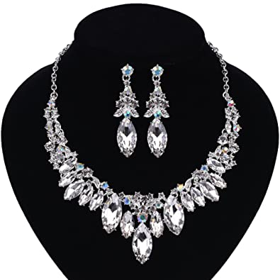 Jewelry Sets Fashion Jewelry New Costume Jewelry Rhinestone Necklace Earring Set Silver Ab Bling Unique Gift Comfortable And Easy To Wear