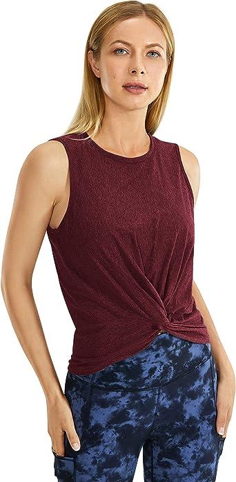 CRZ YOGA Mujer Camiseta Sin Manga T-Shirt Escote en U Casual Tops Algodón Tees: Amazon.es: Ropa y accesorios