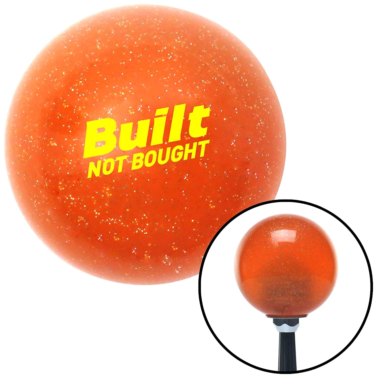 American Shifter 327597 Yellow Built Not Bought Simple Orange Metal Flake Shift Knob with M16 x 1.5 Insert