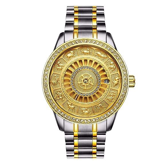 HWCOO Hermoso Relojes de Pulsera Tevise / 12 Zodiac 9055G Diamante Reloj mecánico automático para Hombre Reloj Calendario (Color : 2): Amazon.es: Relojes