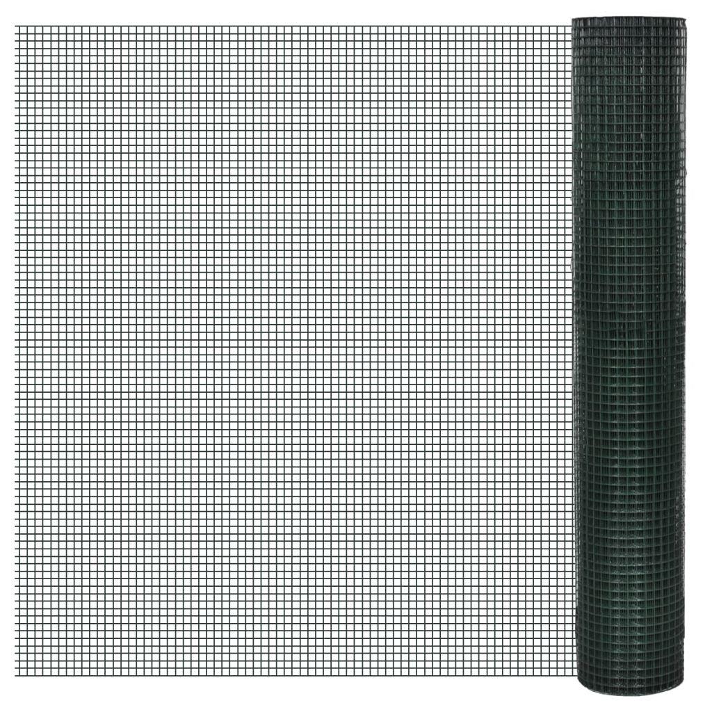 vidaXL Grillage plastifié à mailles carrées 1m x 10 m, mailles 19 mm