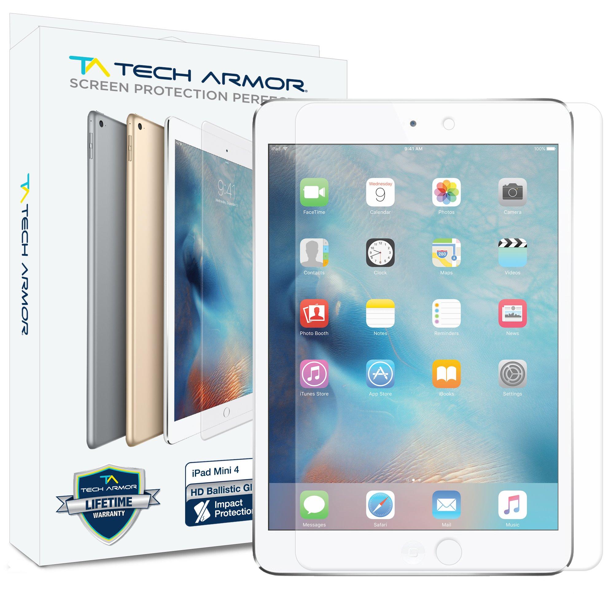 Tech Armor iPad Mini 4 Glass Screen Protector, Premium Ballistic Glass Apple iPad Mini 4 Screen Protectors [1]