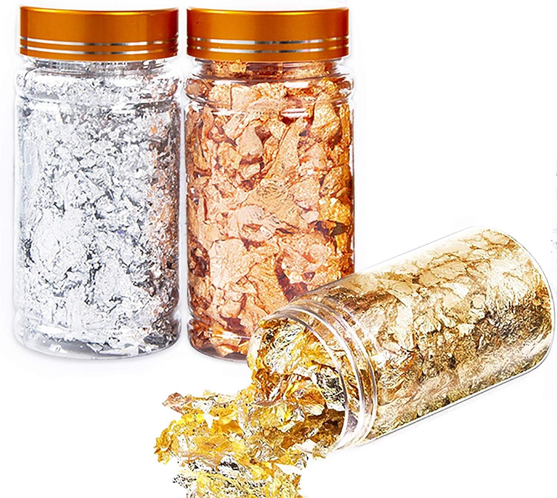 Gold Leaf Gilding Foil Flakes Set of 3 Bottles – Color 2.5 Imitation Gold, Silver, Real Copper Schabin Flakes Metallic Foil Flakes for Painting, Furniture Décor, Crafts, Nail Art (Flakes 3g per BTL.)