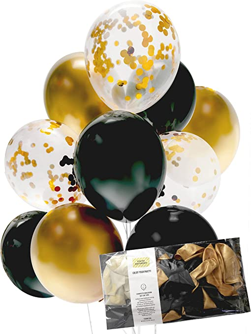 """6 x 12/"""" 60th Birthday Party Decoration Balloons Black /& Gold Mix"""