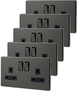 5 x double wall socket switched black nickel 2 gang screwless 13a double pole n410gme
