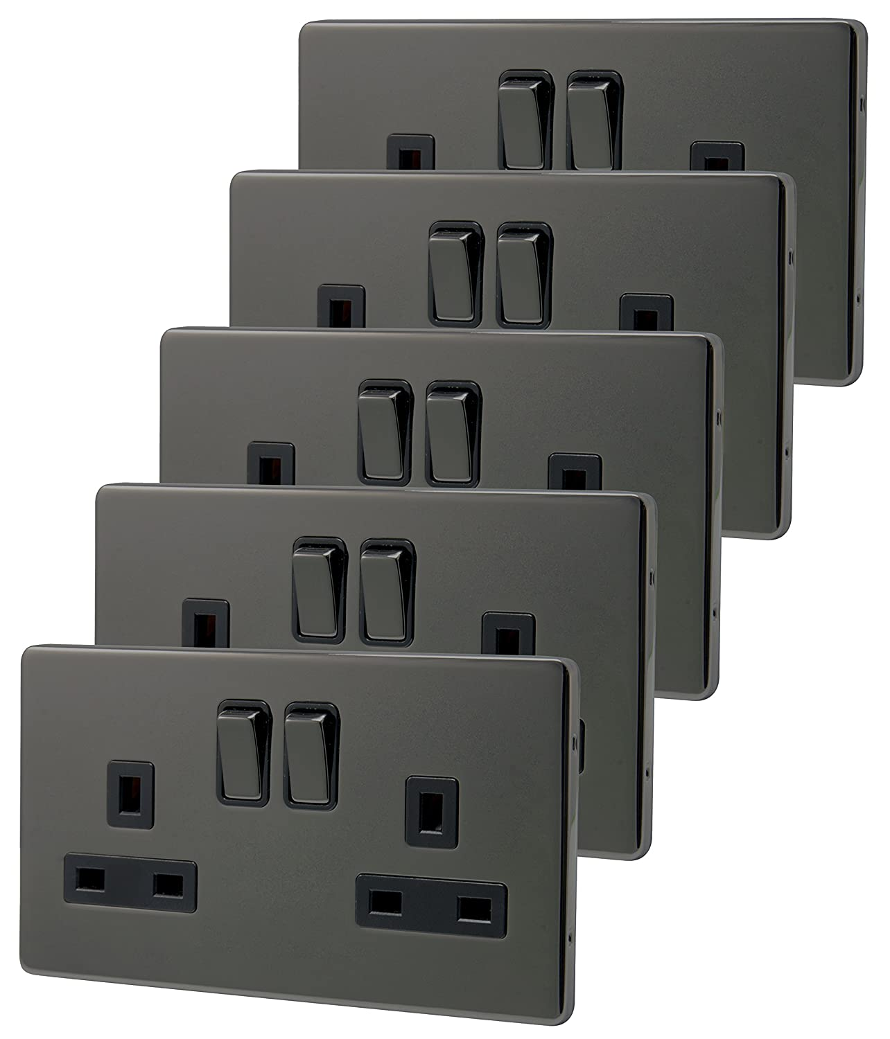 5 x Double Wall Socket Switched Black Nickel 2 Gang Screwless 13a Double Pole N410GME Long Life Lamp Company