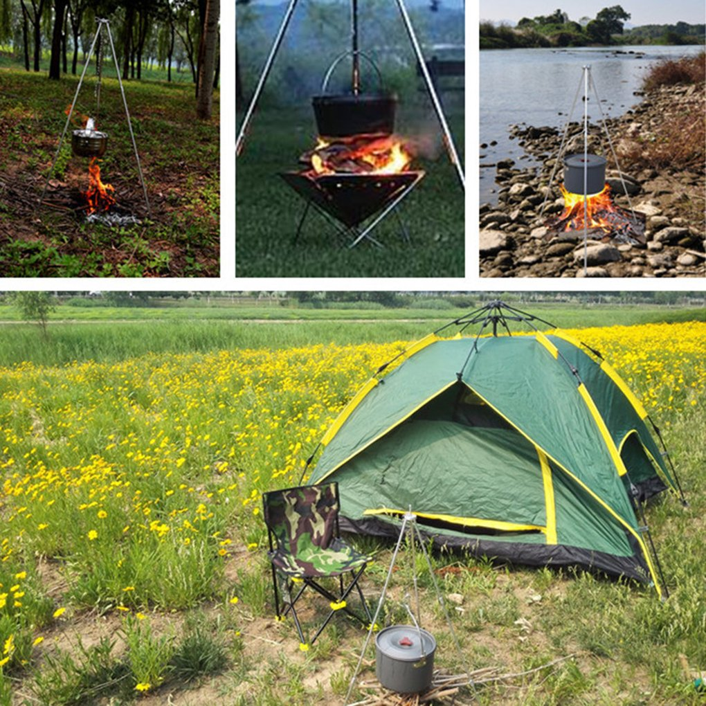 Elenxs Tripod Charcoal Foldable Grill Hanger Stand for Hanging Pot Picnic Barbecue Campfire