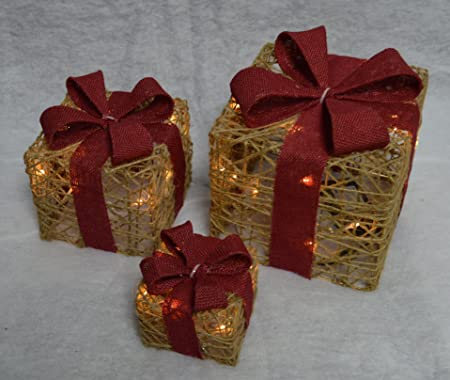 set of 3 led battery powered light up christmas present jute boxes with timer