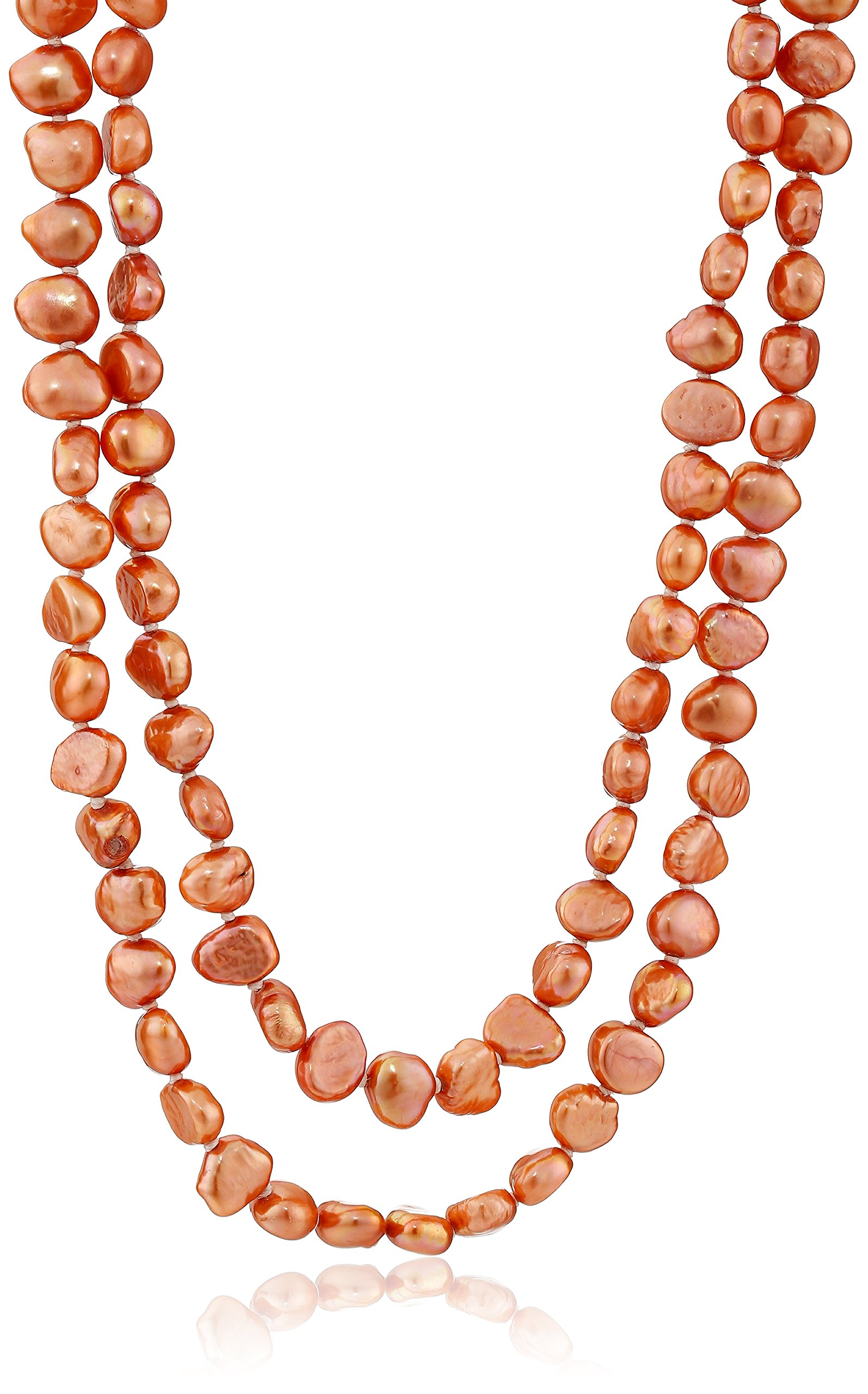 6-7mm Dyed Coral Baroque Freshwater Cultured Pearl Endless Necklace, 50''