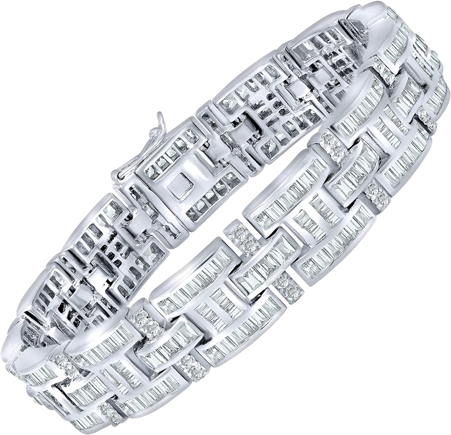 """[2-5 Days Delivery] Men's Elegant Sterling Silver .925 Bracelet with 298 Highest Quality Channel-Set Simulated Diamond Princess-Cut Cubic Zirconia (CZ) Stones, Secure Box Lock, Platinum Plated. Available in sizes 8"""" 9"""""""