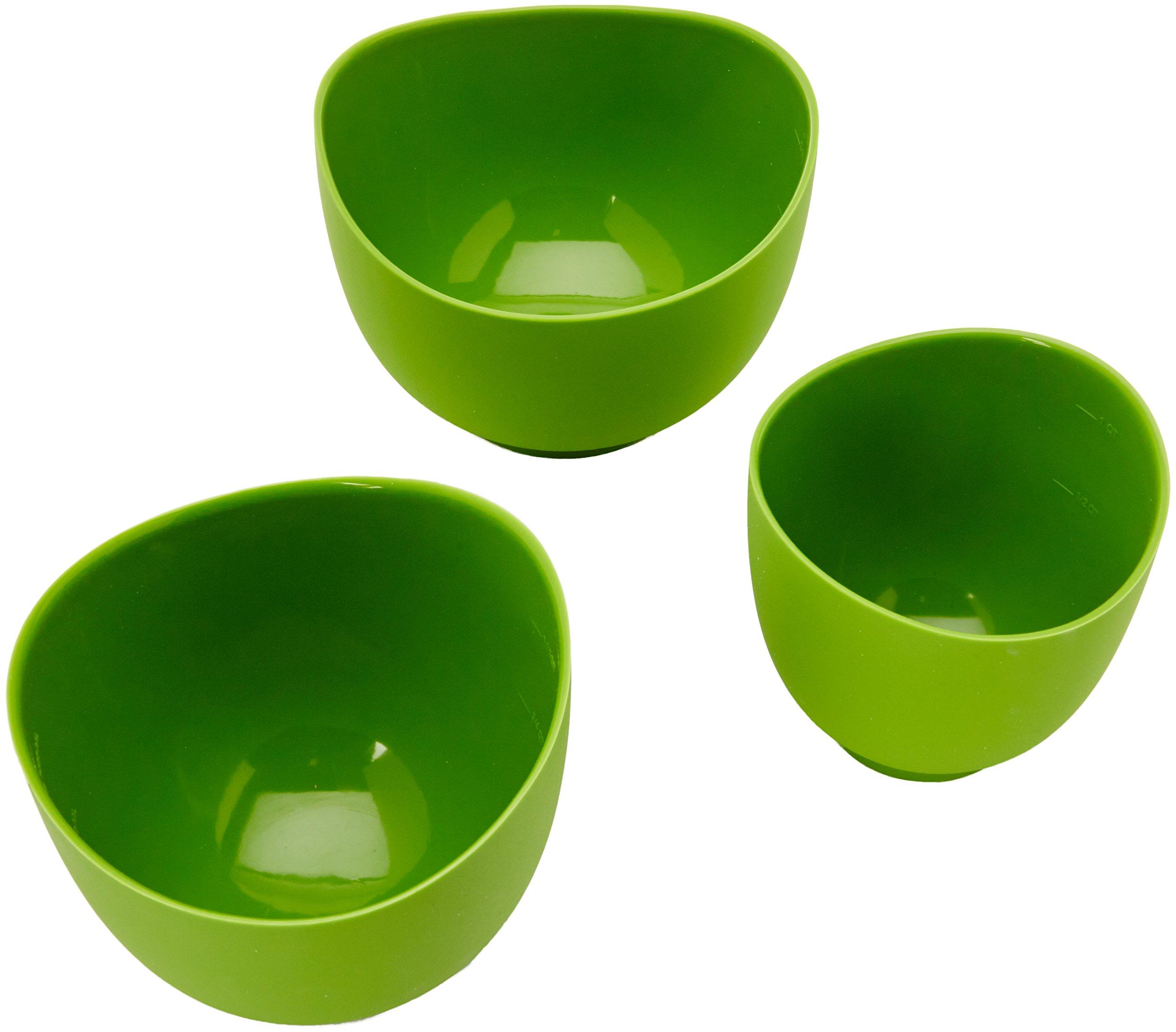 iSi Basics Flexible Silicone Mixing Bowls, Set of 3, 1 QT, 1.5 QT, 2 QT, Green (B25104)