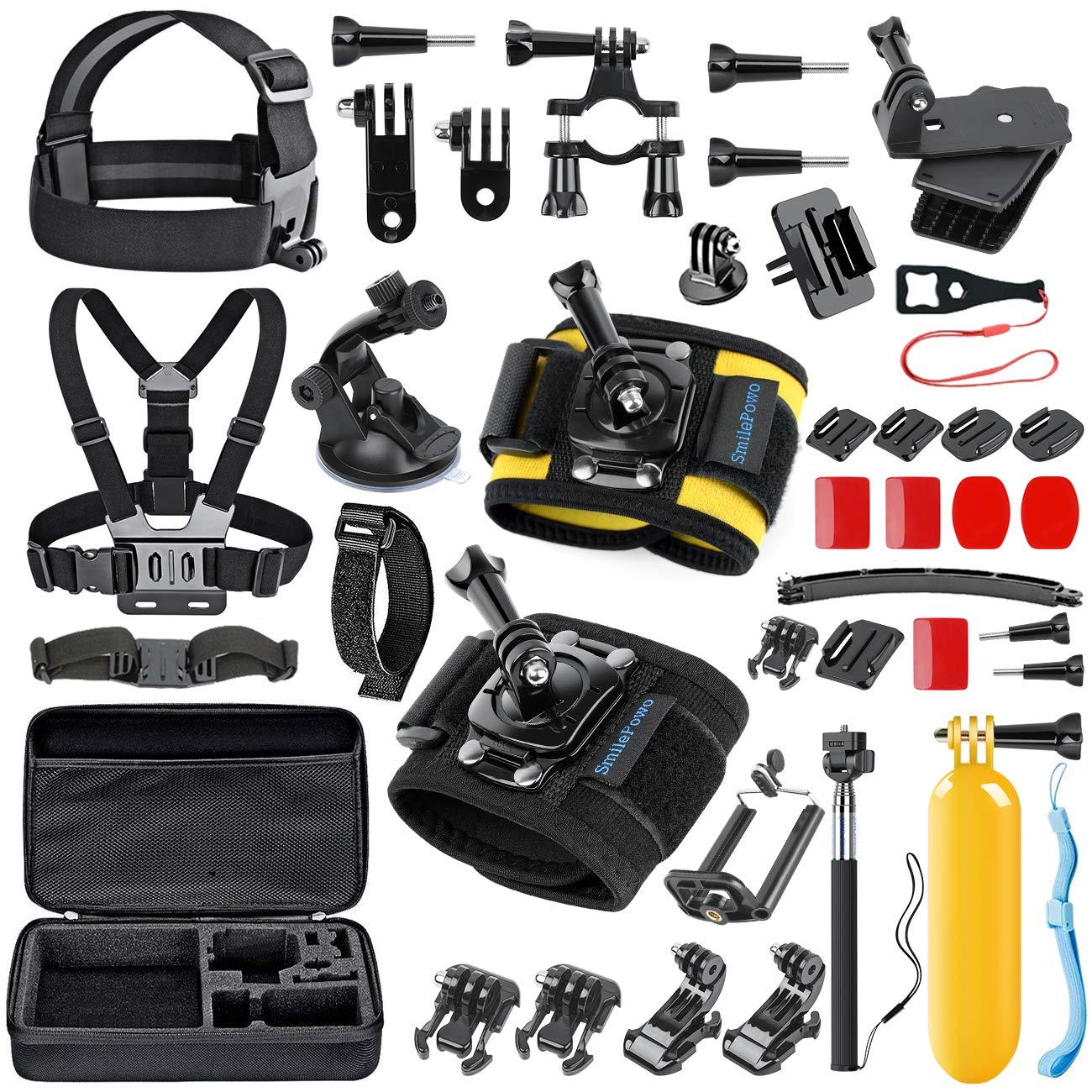 smilepowoカメラアクセサリーfor GoPro hero5ブラック、hero5、セッション、hero6ブラック、4,3,3 + 2 , 1 , AKASO、SJCAM、スポーツアクションカメラ、カメラバンドル(48 items)   B01MQZRAQJ
