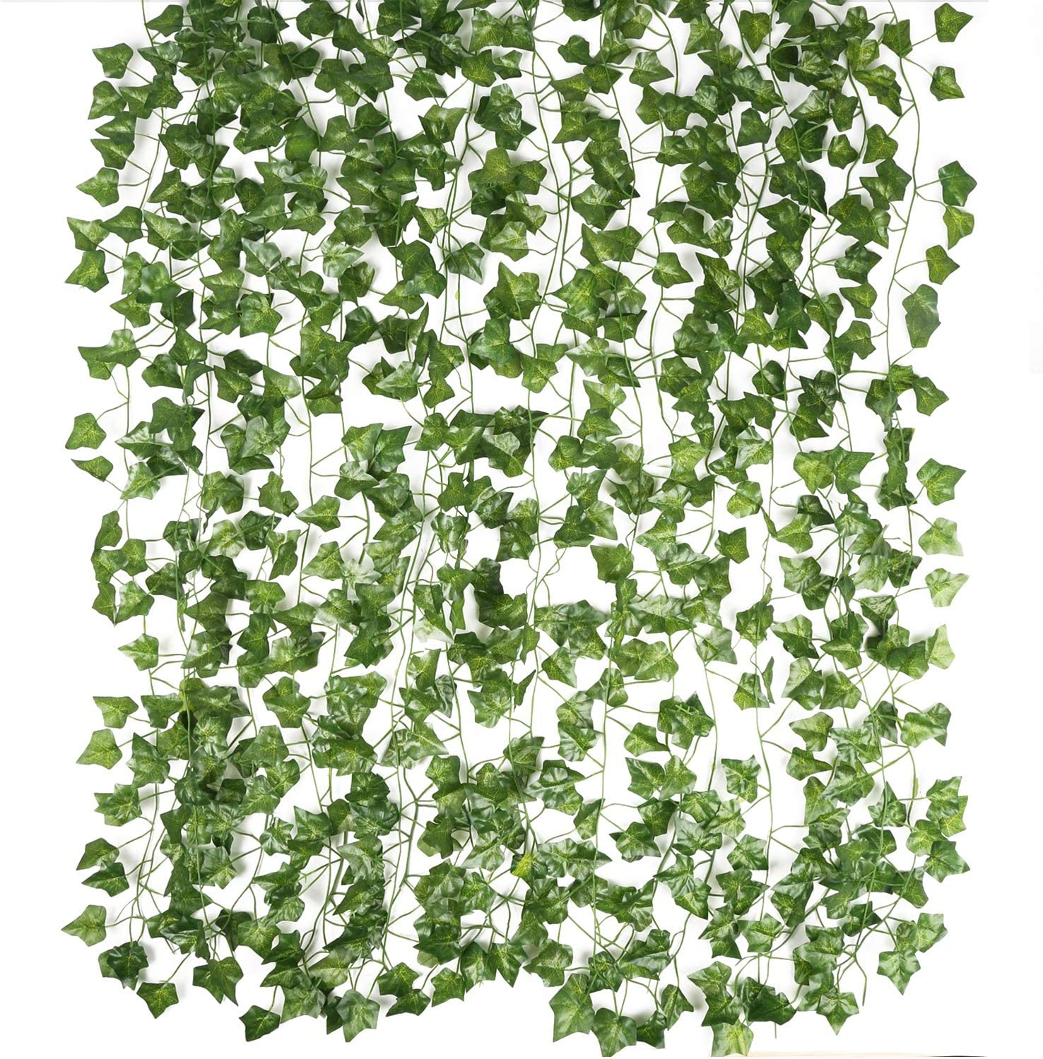 Magbeauty Artificial Ivy Garland Fake Vines - 12 Strands Fake Wall Plants Green Garland for Room Decor, Home, Kitchen, Garden, Office, Wedding, Wall Decor (12)