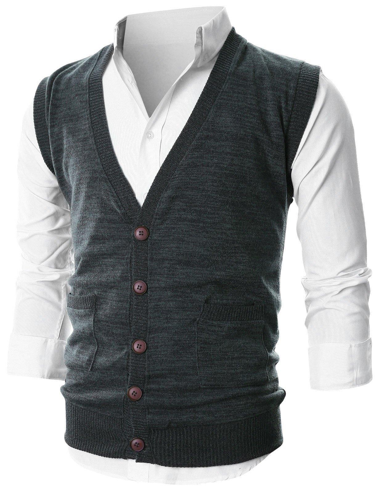 Ohoo Mens Slim Fit V-Neck Button-Front Vest with Pockets/DCV015-DARKCHARCOAL-XL