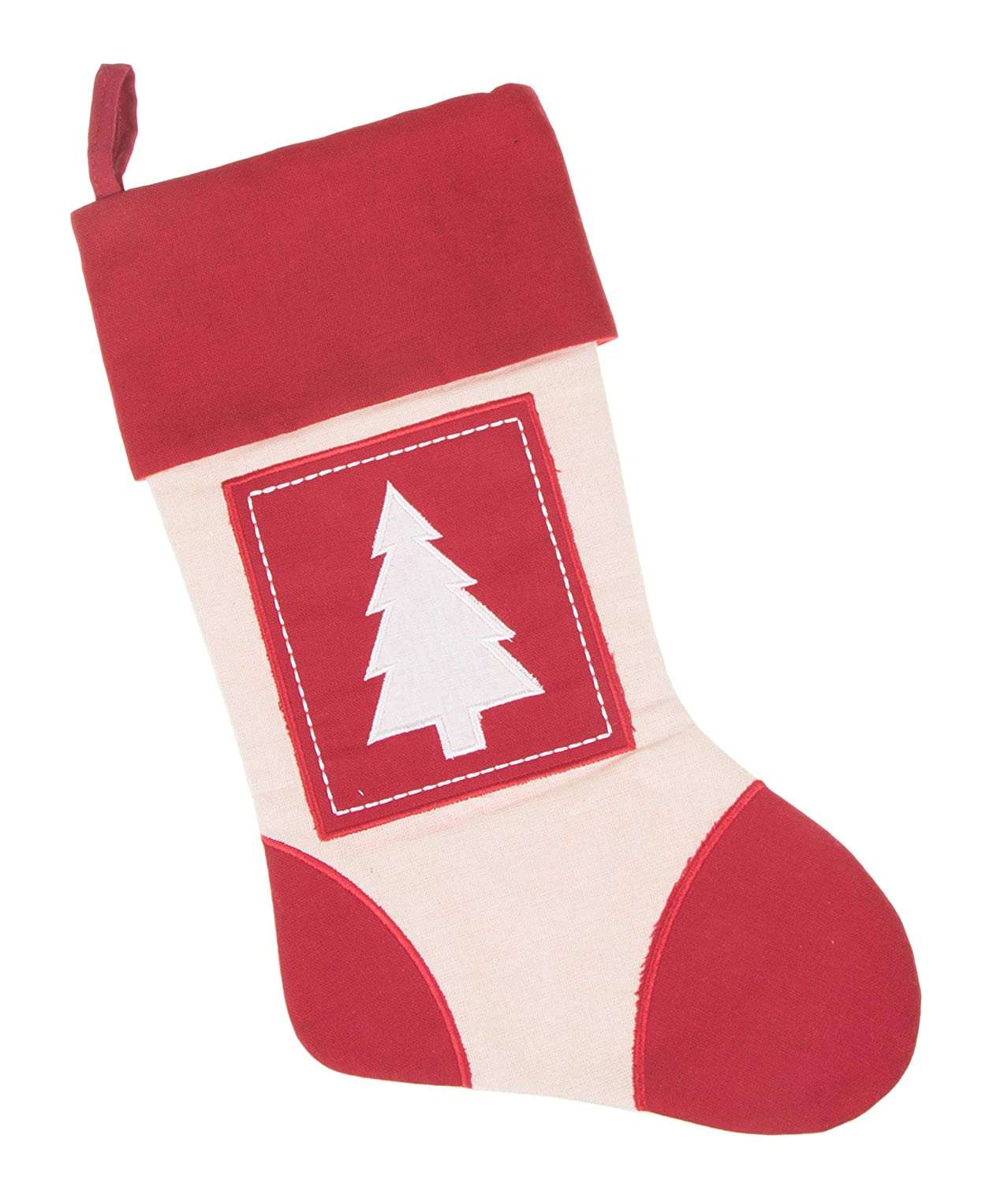 "Boxed Tree Canvas Christmas Stocking by Clever Creations | Beautiful Tree Applique Design | Soft Woven Material | Festive Holiday Décor | Traditional Theme | Easy to Personalize | Measures 16"" Tall No Model"