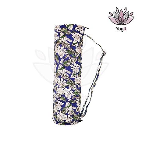 Bolsa Funda Esterilla de Yoga, Pilates, Diseño Azul Floral, Unisex, Loneta Muy Resistente de Algodón, Funda Yoga Mat YogIt