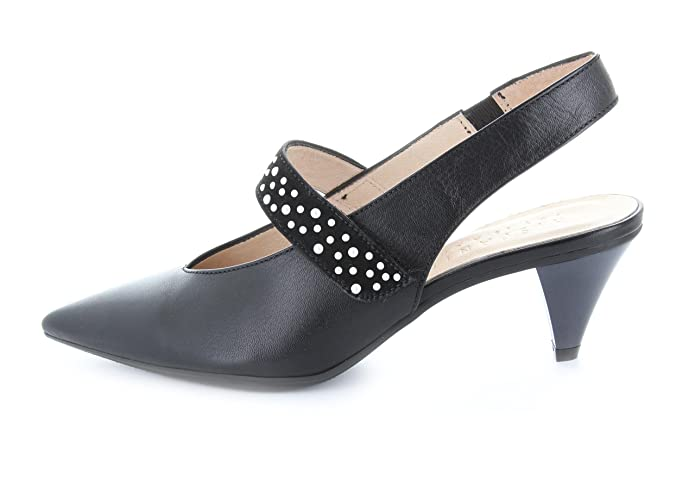 Hispanitas Damen Slingpumps mit Spange Hohe Absatz 5 cm Malta-5 schwarz-weiß  Glattleder  Amazon.de  Schuhe   Handtaschen 6361daf4b4