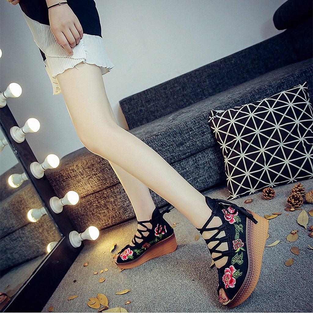 Die gestickten Schuhe der Frauen fallen nationale Art Art Art mittlere Fersen breathable Freizeitschuhsandelholze ( Farbe   Schwarz , größe   US 8\UK 7\EUR 41 )  41072c